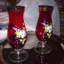 Две страрые вазы красного тонкого стекла (21 см), ЧССР, в Химках