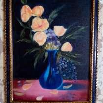 Картина Цветы в вазе (желтые маки) живопись масло, в Москве
