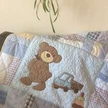 Детское лоскутное одеяло «Мишутка с машинкой», в Омске