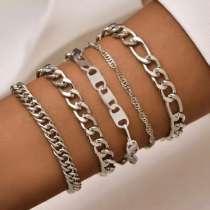 Набор из 5 серебряных браслетов-цепочек, в Москве