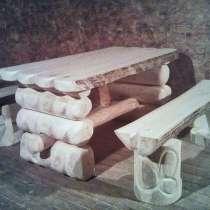 Стол и лавочки из бревна осины в русскую баню, в Санкт-Петербурге