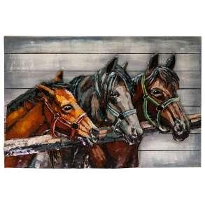 Картина деревянная с металлом S18B13 Лошади 90х60 см., в Москве