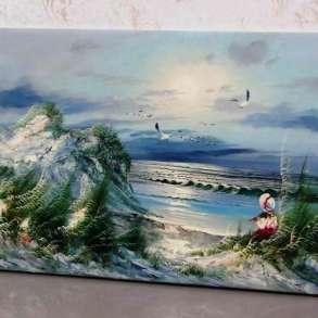 На берегу моря, 60х120см, Картина маслом на холсте, в Москве