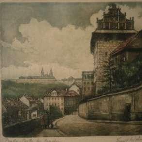 Старая Прага Emil Wanke ЦВЕТНАЯ ГРАВЮРА НА БУМАГЕ 17х20,см, в Москве