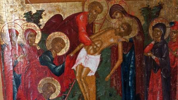 Старинный храмовый образ «Снятие с креста». Россия, XIX век в Санкт-Петербурге фото 12