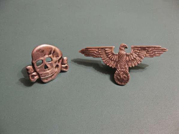 Эмблема и мертвая голова на фуражку эсэсовца (серебро)