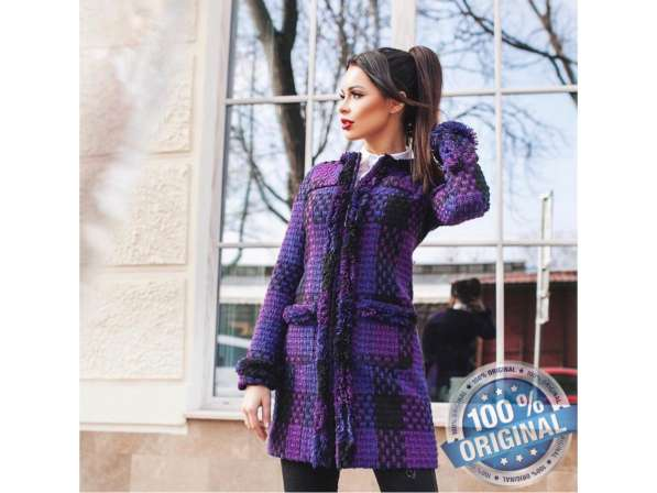 Короткое женское пальто Вязка в фото 3