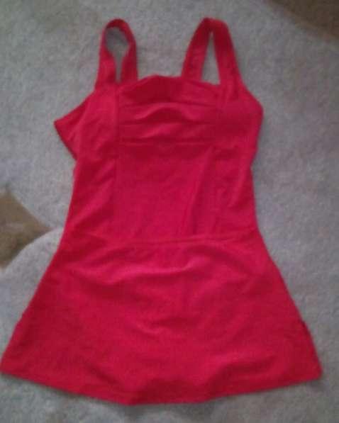 Красный слитный купальник двойка с юбкой новый