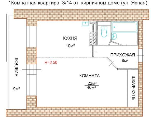 Однокомнатная кирпичная квартира
