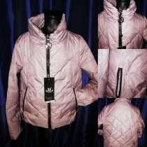 Куртка стильная цвет глянцевая пудра, воротник стойка, стега, в Одинцово