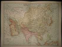 Азия, карта Азии с включением Азиатской части России, в г.Октябрьский