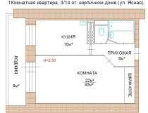 Однокомнатная кирпичная квартира, в Екатеринбурге