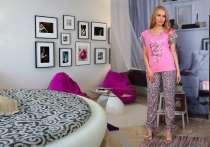 Розовый женский костюм для дома (брюки и блуза), в Перми