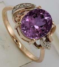 Золотое кольцо с бриллиантами и аметистом, новое, в Санкт-Петербурге