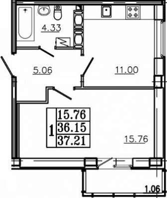 1-к квартира, 37 м², 14/16эт