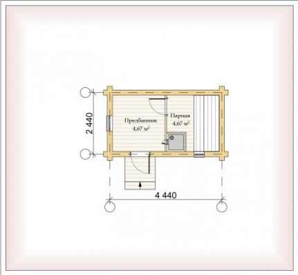 Дом (баня) из оцилиндрованного бревна d 220мм, площадью 3000×6000×2400мм в Чебоксарах Фото 2