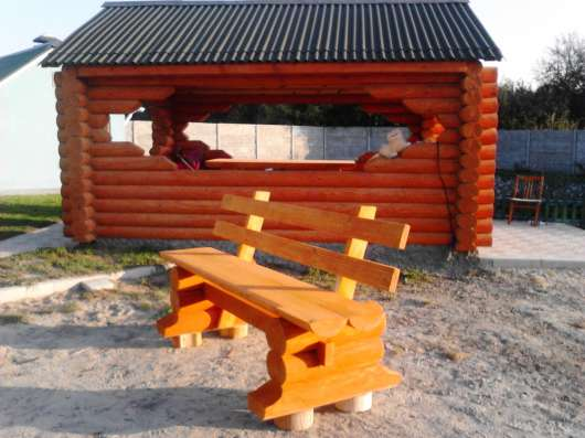 Столы лавочки из бревна оцилиндрованного в г. Гомель Фото 3