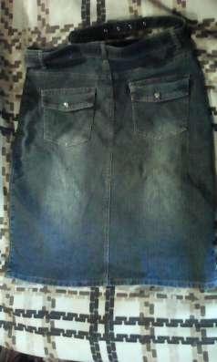 Джинсовая юбка-стрейч, серая с выбеленным орнаментом, р46-48