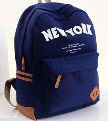 Рюкзак синий черный искусственная кожа холст New York