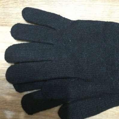 Вязанные мужские перчатки двойные новые черные в Комсомольске-на-Амуре Фото 1
