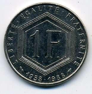 Франция 1 франк 1988 г. (юбилейная - генерал Шарль Де Голль)