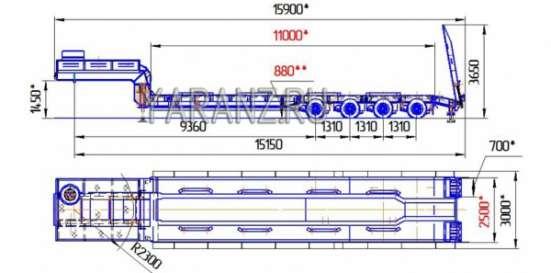 16. Трал низкорамный 50 тонник 11 метров