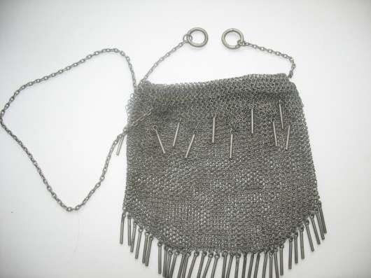 Старинная женская сумка. Серебро 84.Кольчуга в Москве Фото 6