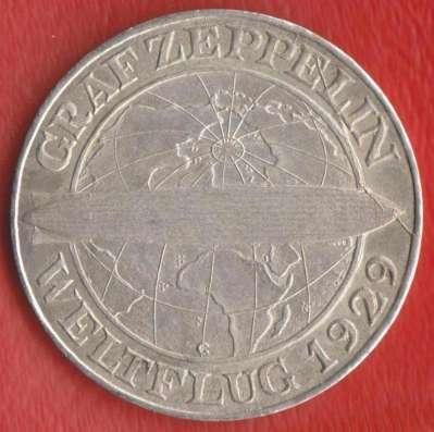 Германия Веймар 5 марок 1930 г. Дирижабль Цеппелин