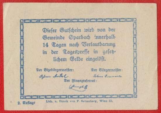 Австрия Шпарбах нотгельд 20 геллеров 1920 г